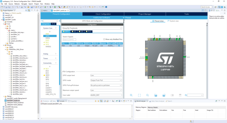 Projekt STM32CubeIDE – konfiguracja GPIO linii resetującej