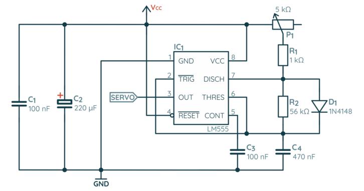 Schemat sterownika serwomechanizmów na bazie NE555 – generator sygnału