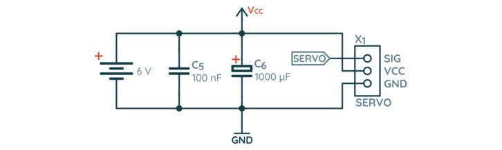 Schemat sterownika serwomechanizmów na bazie NE555 – serwo z zasilaniem