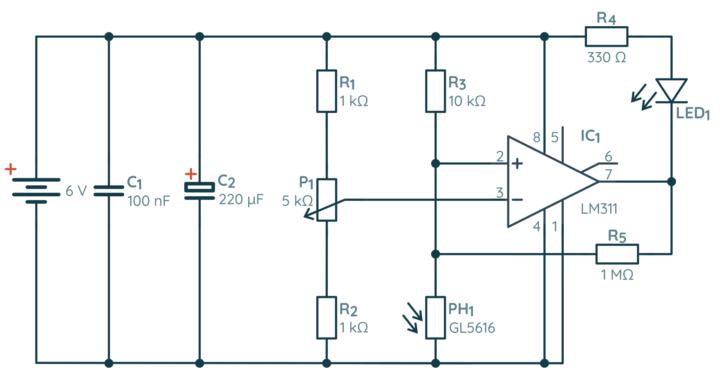 Schemat detektora światła na bazie komparatora napięcia i fotorezystora
