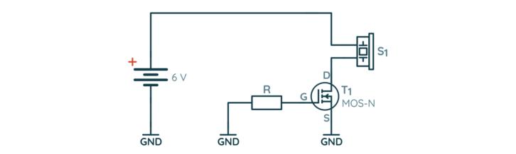 Schemat układu z bramką podłączoną do masy