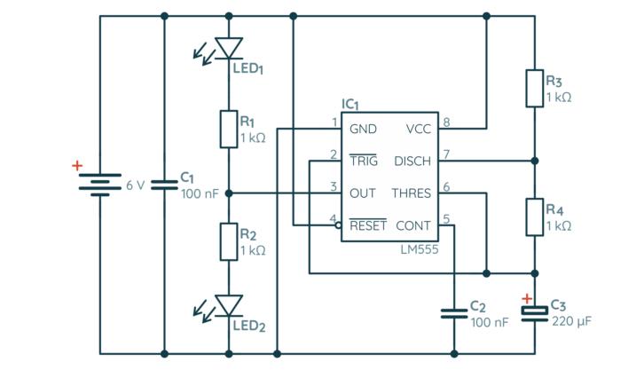 Schemat układu migających diod na NE555