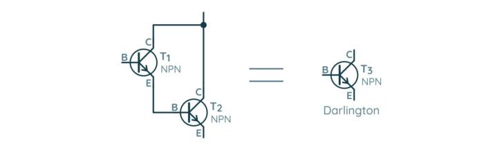 Przykładowy schemat połączenia dwóch tranzystorów bipolarnych w układ Darlingtona