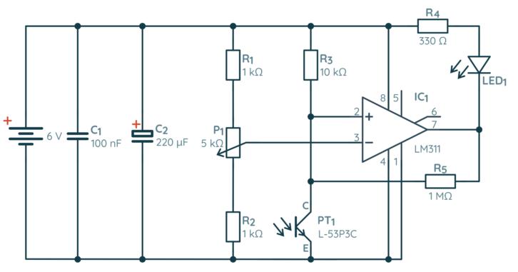 Schemat automatycznej lampki na bazie fototranzystora