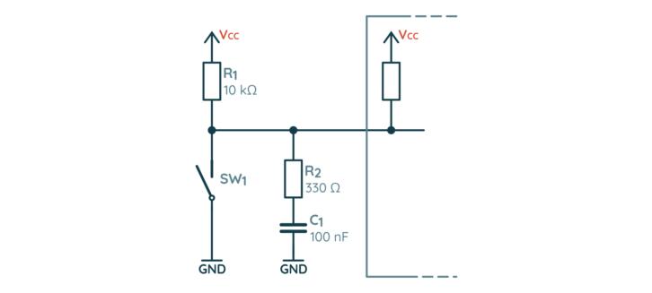 Przykładowy filtr RC usuwający drgania styków