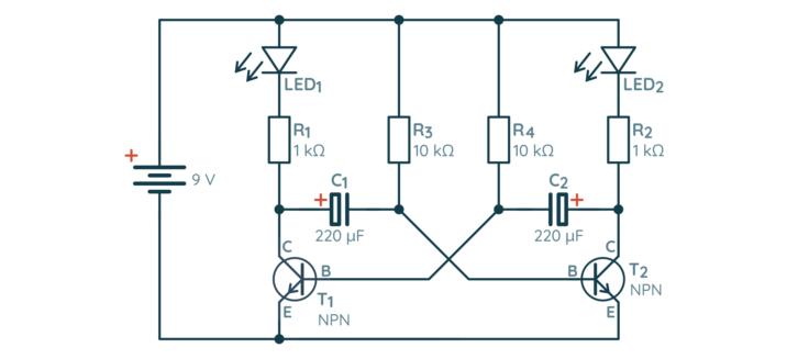 Schemat multiwibratora astabilnego na tranzystorach bipolarnych