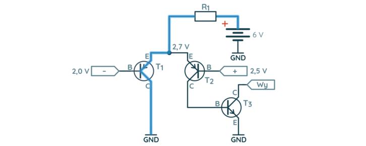 Prosty komparator – droga prądu w pierwszej sytuacji