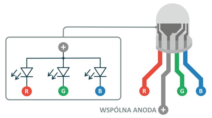 Opis wyprowadzeń diody RGB