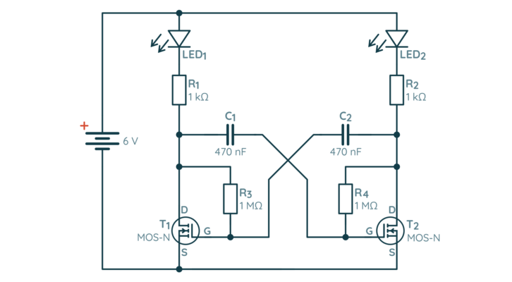 Schemat multiwibratora astabilnego na bazie tranzystorów MOSFET
