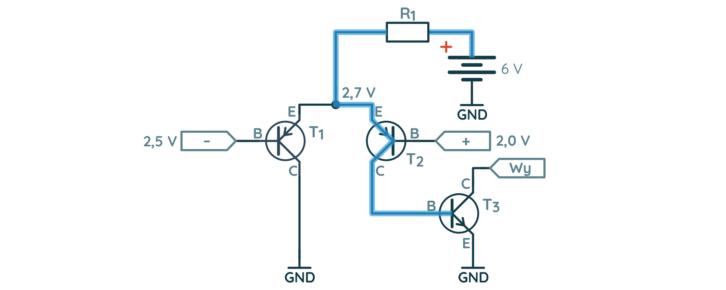 Prosty komparator – droga prądu w drugiej sytuacji