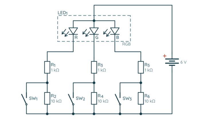 Schemat układu testowego z diodą RGB i przyciskami