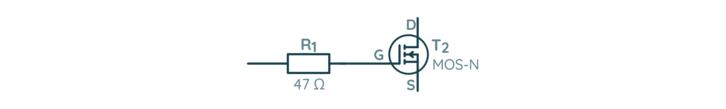Fragment schematu z małym rezystorem przy bramce tranzystora MOSFET