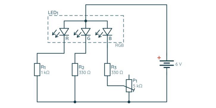 Schemat ćwiczenia z diodą RGB i potencjometrem