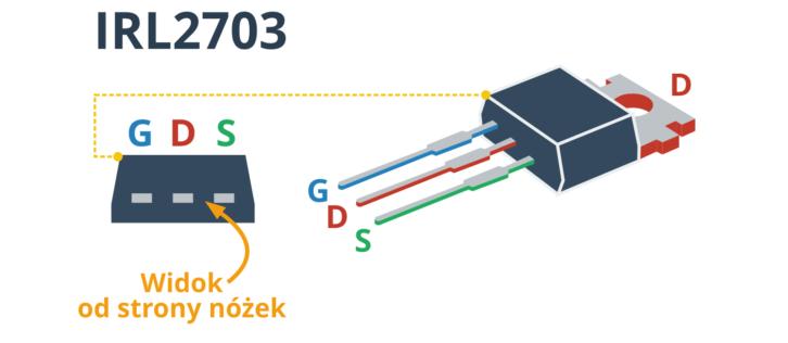 Opis wyprowadzeń tranzystora IRL2703 (po lewej widok od dołu, czyli od strony nóżek)