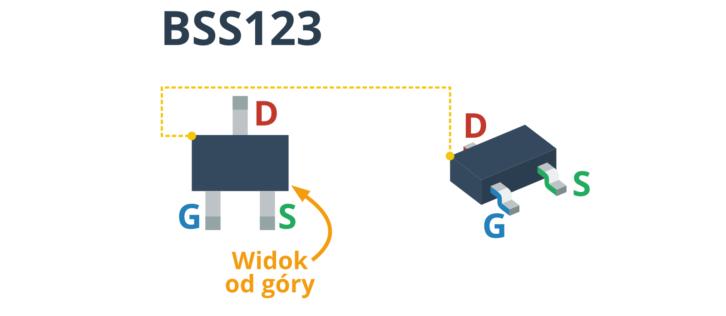 Opis wyprowadzeń tranzystora SMD BSS123 (po lewej widok od góry)