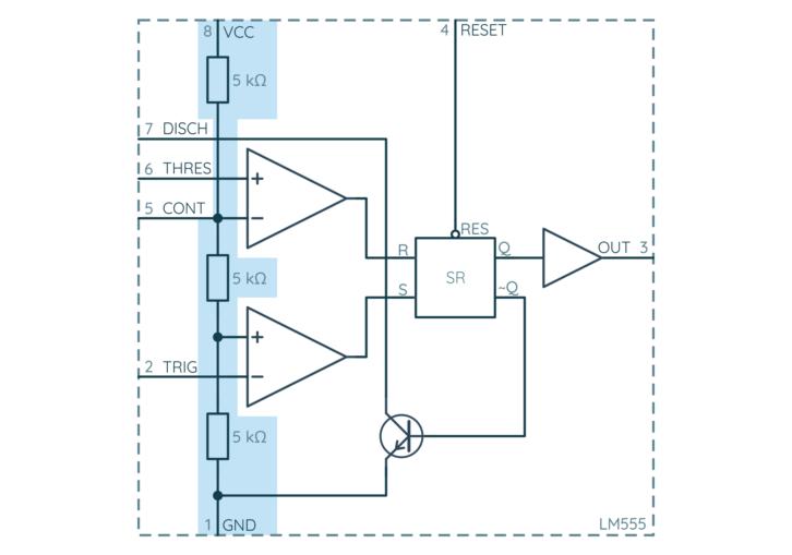 NE555, blok 1: dzielnik napięcia