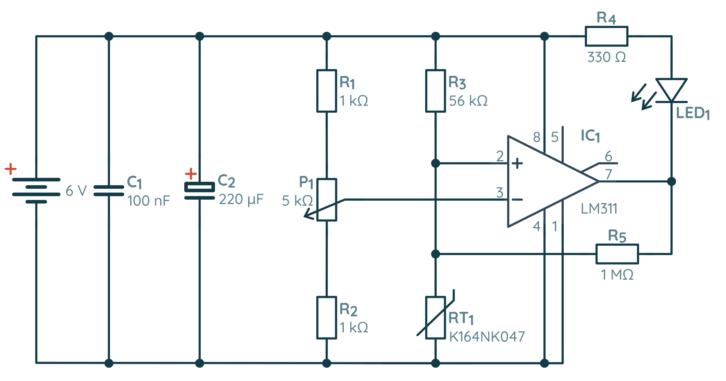 Schemat prostego termostatu zbudowanego z komparatora i termistora