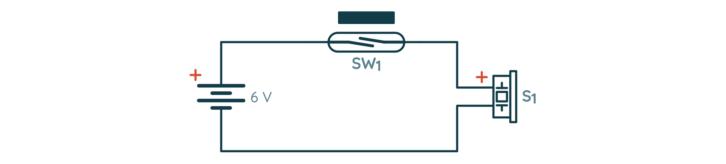 Schemat układu do testowania kontaktronu i buzzera