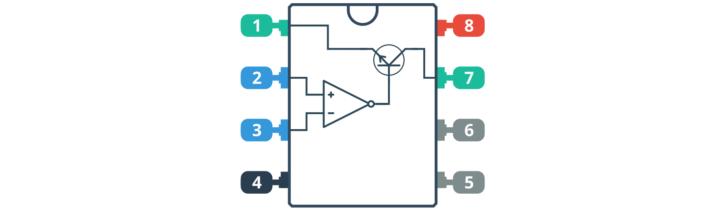 Symboliczne przedstawienie wnętrza układu LM311