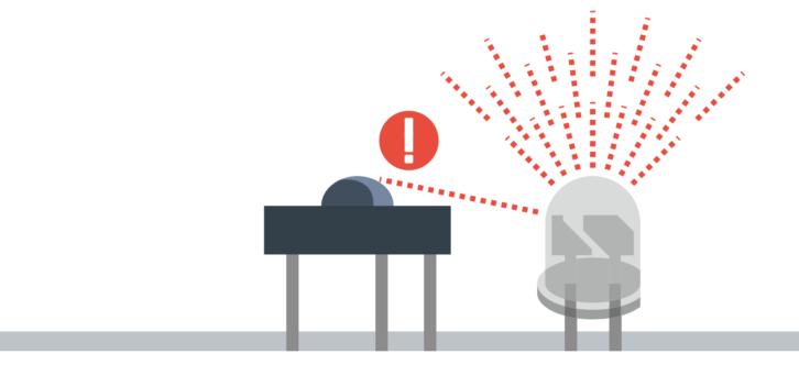 Część światła z diody może wpadać prosto na odbiornik podczerwieni