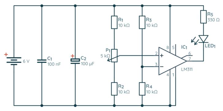 Schemat pierwszego układu z komparatorem LM311