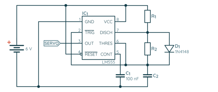 Zmodyfikowany schemat NE555 w konfiguracji astabilnej