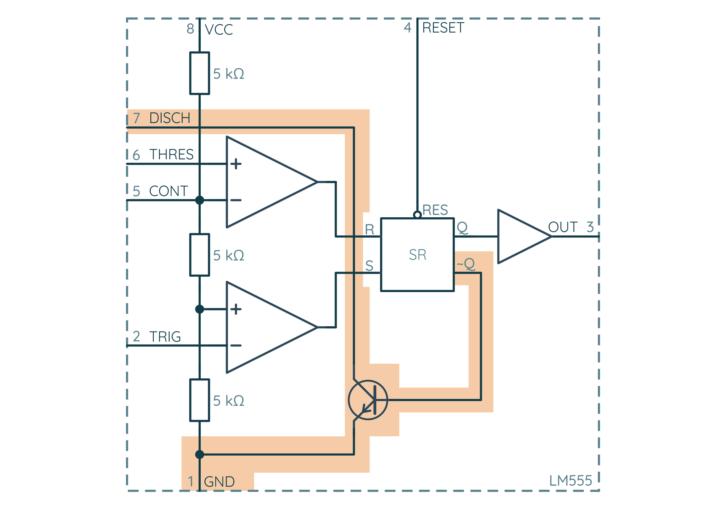 NE555, blok 5: tranzystor