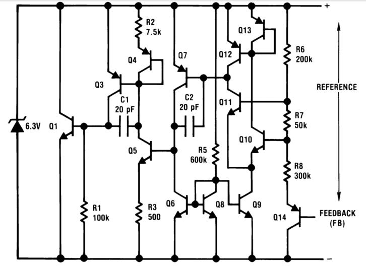 Schemat wewnętrzny układu LM385
