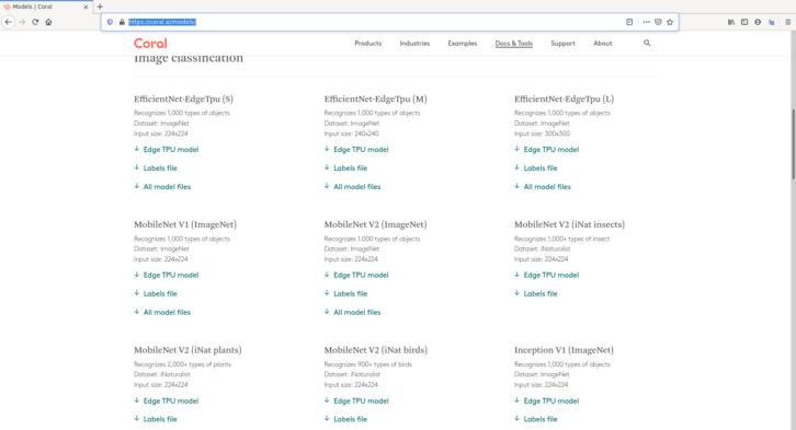 Lista modeli dostępnych na stronie Google