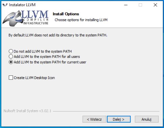 Wybór odpowiedniej opcji podczas instalacji LLVM