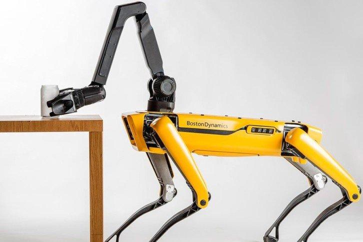 Robot Spot z dodatkowym chwytakiem