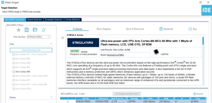Wybór mikrokontrolera STM32L476RG