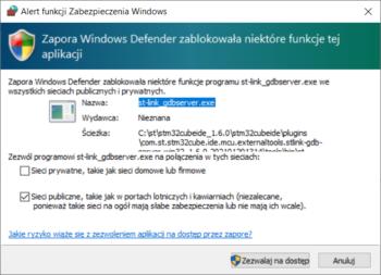 Ostrzeżenie od Zapory Windows Defender