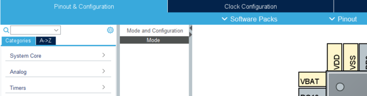 Dodatkowe menu wewnątrz zakładki związanej m.in. z GPIO