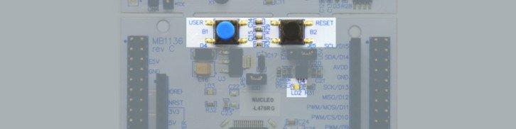 Dwa przyciski i dioda LD2 na NUCLEO-L476RG