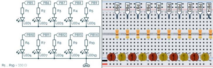 Schemat ideowy i montażowy do przykładu z linijką LED
