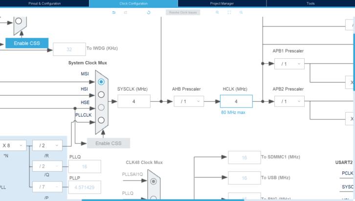 SYSCLK i HCLK na schemacie konfiguracyjnym