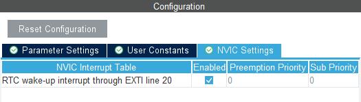 Aktywacja przerwania od modułu RTC w STM32L4