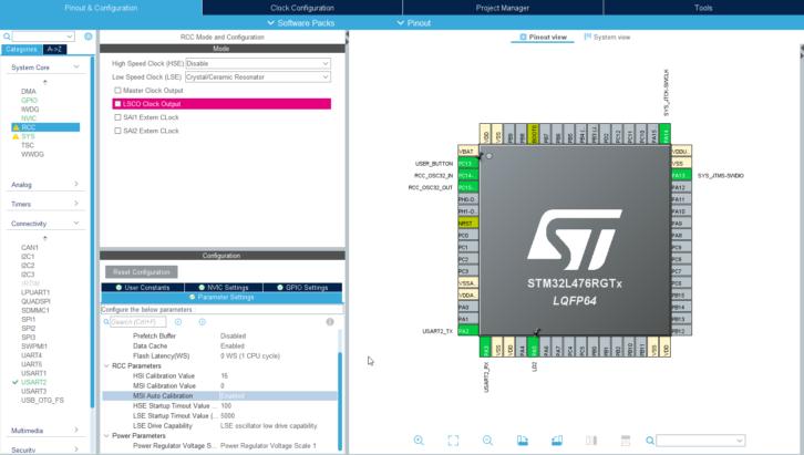 Standardowe ustawienia dla nowego projektu z STM32L4