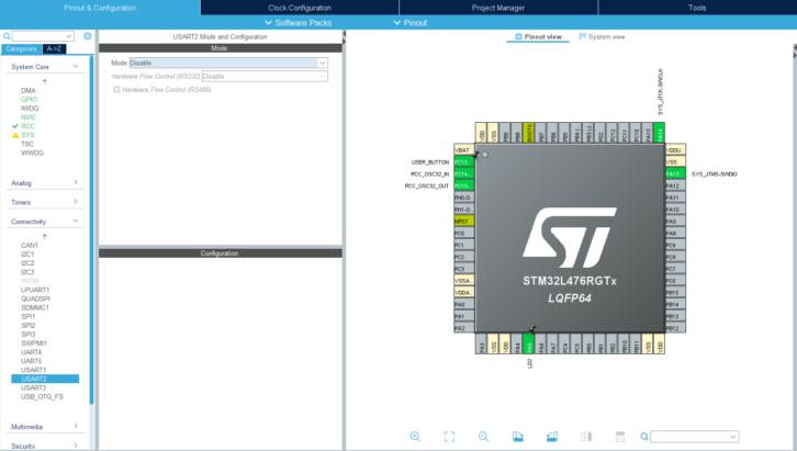Nowa wersja konfiguracji projektu z wyłączonym UART-em