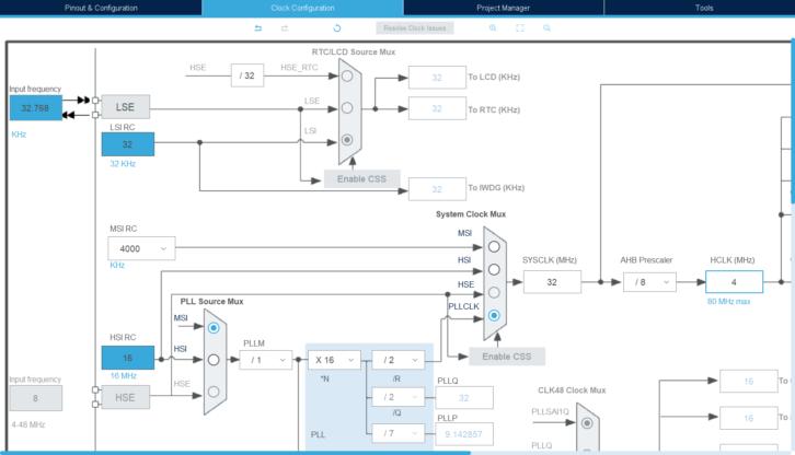Zmiana konfiguracji taktowania na 4 MHz z PLL