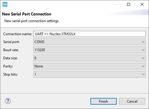 Ustawienia połączenia dla wbudowanego terminala