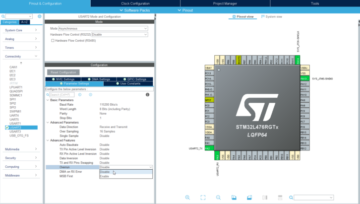 Wyłączenie funkcji Overrun w ustawieniach STM32CubeMX