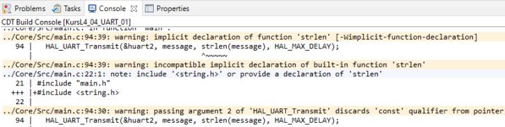 Ostrzeżenia dotyczące funkcji strlen podczas kompilacji