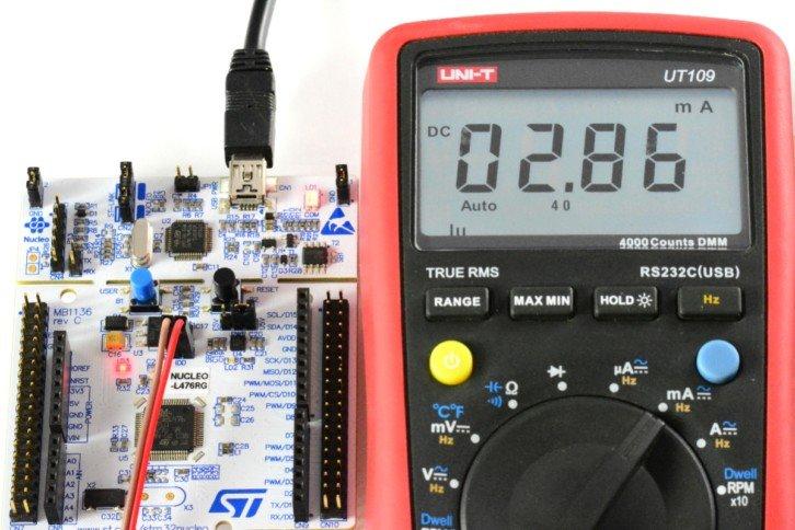 Pomiar prądu przy zmniejszonej częstotliwości taktowania układu