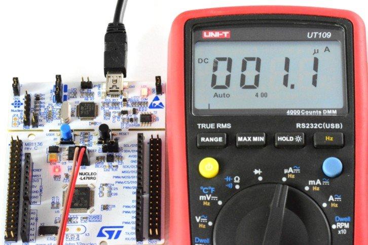 Finalny efekt – pobór 1 µA pomiędzy pomiarami z symulowanego czujnika