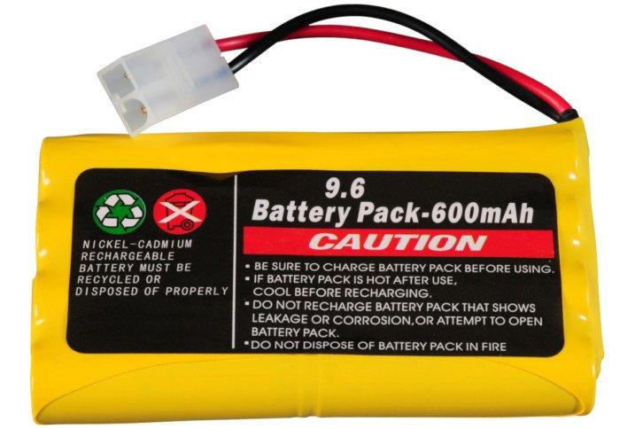 Przykładowy akumulator o napięciu znamionowym 9,6 V i pojemności 600 mAh