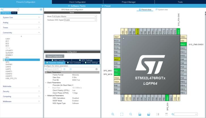 Konfiguracja pierwszego projektu, który wykorzystuje SPI