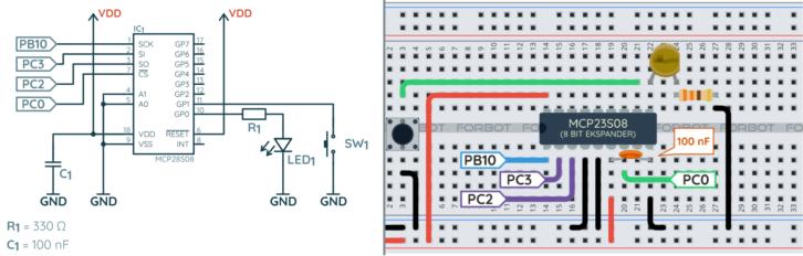 Schemat ideowy i montażowy dla przykładu testującego wejścia ekspandera