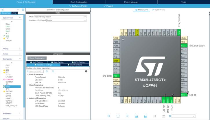 Konfiguracja SPI2 i GPIO dla wyświetlacza TFT